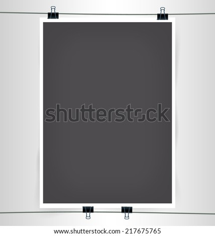 Dark Gray A4 A3 Format Paper Poster with Paper Clips, Shadow and Wire Vector Illustration