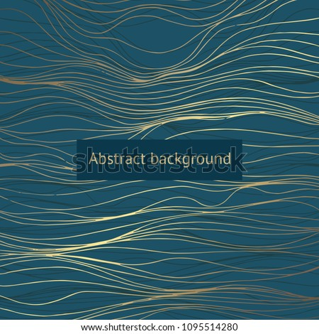 Dark green background with golden lines. Decorative background for design of covers, invitations, cards
