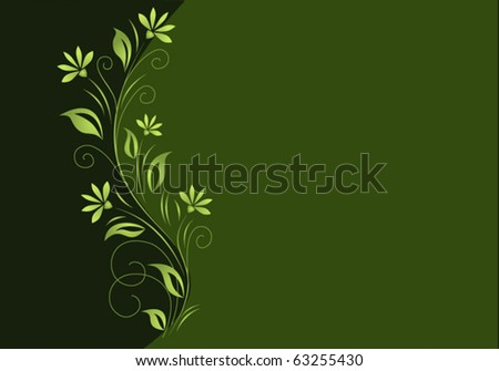 Dark green background with light green floral element.