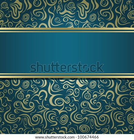 Dark Green Blue Invitation Card with Abstract Pattern and Blank Horizontal Stripe Label. Vector Illustration