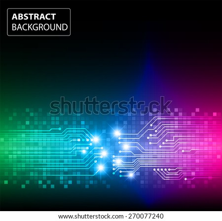 Dark Green Blue Pink Color Light Abstract Technology ...