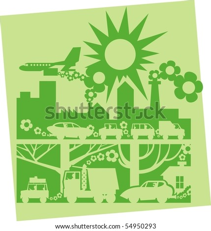 Dark green city on light background silhouette color vector illustration