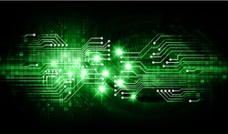 dark green Light Abstract Technology background for computer graphic website internet and business. circuit. illustration.digital.infographics. binary code. zero one. eye scan virus vector