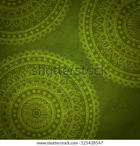 Dark green ornaments. Floral mandala background. Vector image.