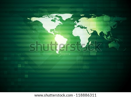 Dark green technology design with world map. Eps 10 vector background