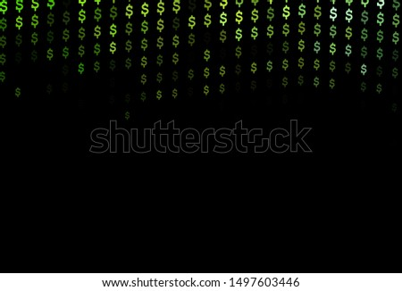 Dark Green vector background with dollar, USD, usa. Blurred design in with symbols of dollar, USD, usa. The pattern can be used as ads, poster, banner for payments.