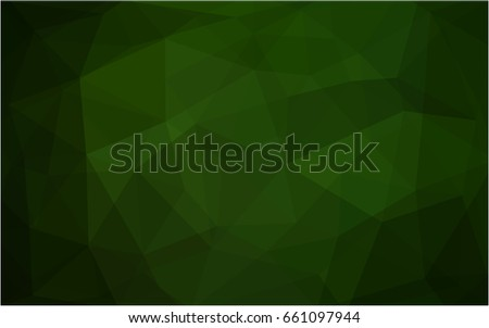 Dark Green vector blurry triangle background design. Geometric background in Origami style with gradient.