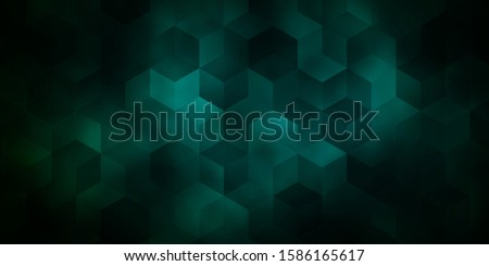 Dark Green vector pattern with colorful hexagons. Colorful hexagons on blur backdrop. Design for website posters, banners.