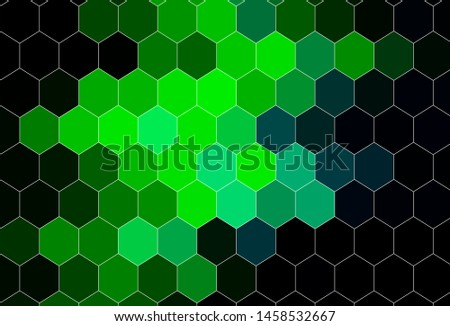 Dark Green vector texture with colorful hexagons. Colorful hexagons on blur backdrop. New template for your brand book.