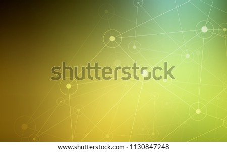 Dark Green, Yellow vector background with dots and lines. Decorative design in abstract style with triangle structure. Pattern can be used as texture of wallpapers.