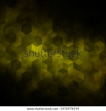 Dark Green, Yellow vector background with hexagons. Colorful hexagons on blur backdrop. Pattern for texture of wallpapers.