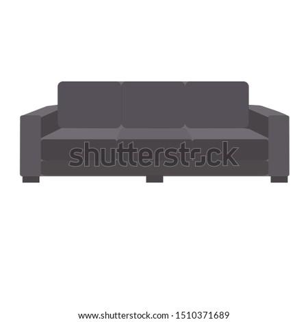 Dark grey sofa. Flat design icon vector illustration.