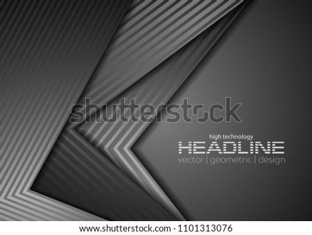 Dark grey tech concept corporate background. Vector graphic design