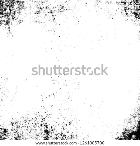 Dark Grunge Chaotic Surreal Pattern. Fantasy Abstract Texture Made Of Ink Paint. Monochrome Worn, Scuffed Background. Textile And Fabric Sample Design. Urban Modern Wallpaper. Spotted Backdrop Image #1261005700