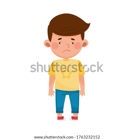 Dark-haired Boy Standing with Sadness on His Face Vector Illustration Foto stock ©