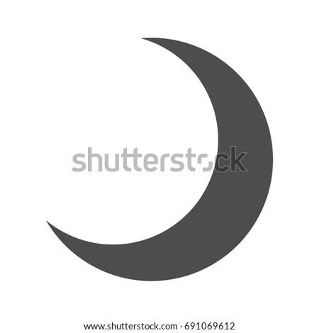 Dark Half Moon Icon Isolated Crescent Night Sky Ez Canvas