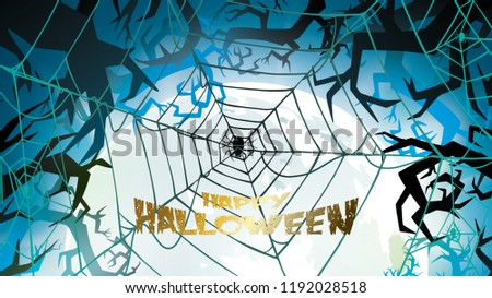 Dark Halloween background with Moon on blue sky, spiders illustration. Flyer or invitation template for banner, party, Invitation . Vector illustration with place for your Text & copy space