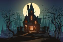 Dark halloween house with moon