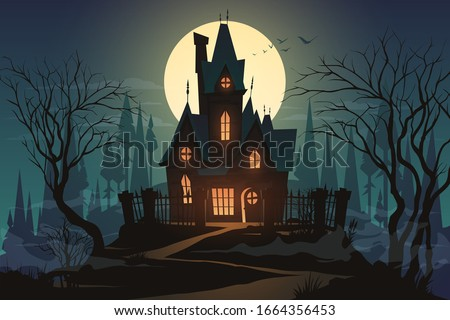 Dark halloween house with moon Foto d'archivio ©
