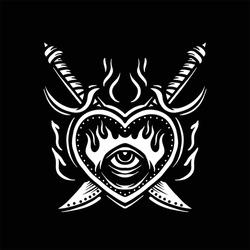 dark heart tattoo vector design