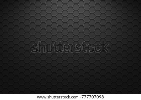 Dark horizontal background with hexagons. Vector background with lighting.