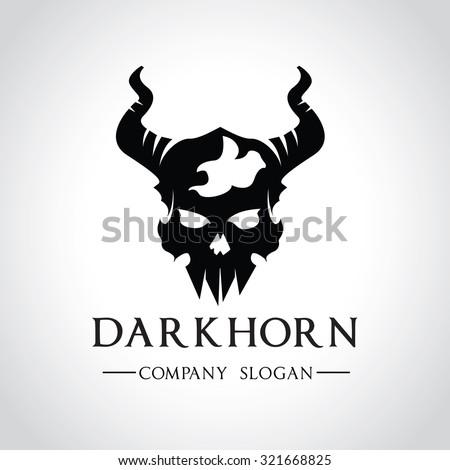 dark horn skull logo rock logo