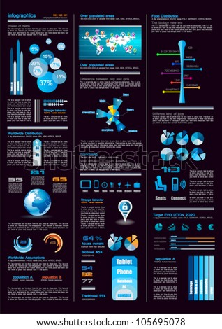 Dark Infographics page with a lot of design elements like chart, globe, icons, graphics, maps, cakes, human shapes and so on. Ideal for business analisys rapresentation.