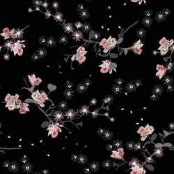 Dark japanese garden oriental night blooming flowers, branches, leaves and birds. Vector seamless pattern. Illustration for fabrics, and all prints on black background color
