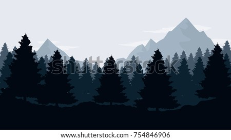 Dark landscape with mountains,  sky and woods. Forest silhouette template . Panorama background
