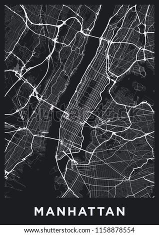 Dark Manhattan (New York) map. Road map of Manhattan (NYC). Black and white (dark) illustration of Manhattan's streets. Transport network of Manhattan. Printable poster format (portrait).