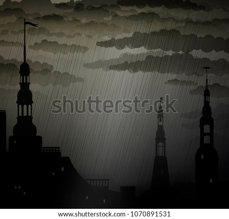 dark medieval city background