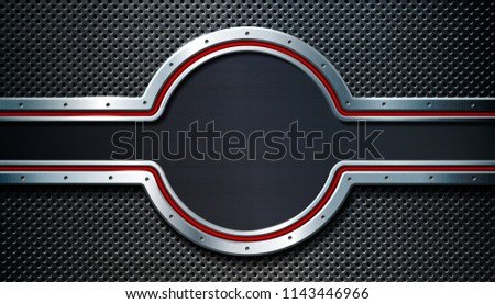 Dark metal perforated background. For industrial and technology design. Vector illustration.