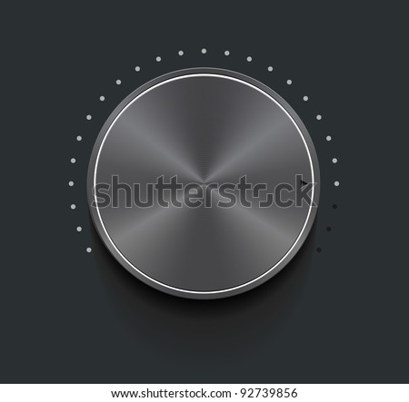 Dark metallic knob, vector