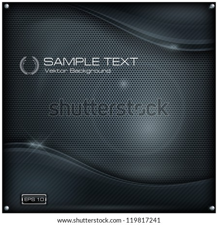 Dark metallic mesh background and text, abstract vector illustration