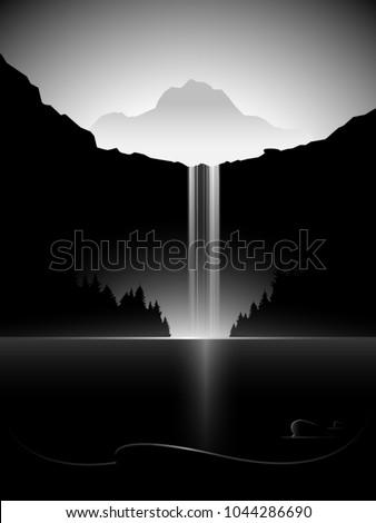 dark minimal vector landscape