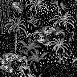 Dark Monotone vector tropical seamless pattern on black and white with palm tree, leaves ,plants ,exotic trees ,in the forest.