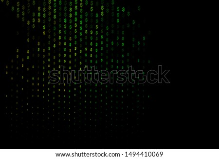 Dark Multicolor, Rainbow vector cover with dollar, USD, usa signs. Blurred design in with symbols of dollar, USD, usa. The pattern can be used for financial, investment websites.