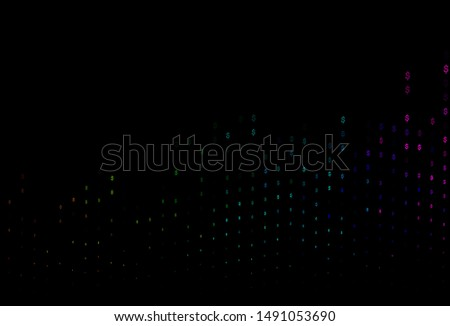 Dark Multicolor, Rainbow vector cover with dollar, USD, usa signs. Illustration with dollar, USD, usa signs on white template. Smart design for your business advert of economic, wealth.