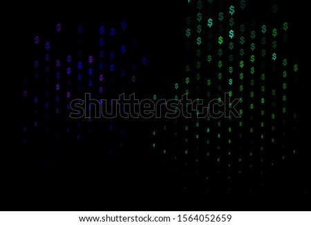 Dark Multicolor, Rainbow vector template with dollar, USD, usa. Illustration with dollar, USD, usa signs on white template. Best design for your ad, poster, banner of money.
