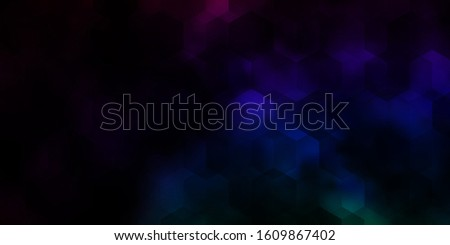 Dark Multicolor vector background with hexagons. Colorful hexagons on blur backdrop. Design for website posters, banners.