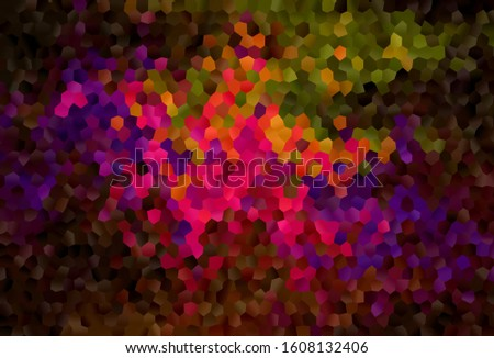 Dark Multicolor vector background with set of hexagons. Colorful hexagons on blur backdrop. New template for your brand book.