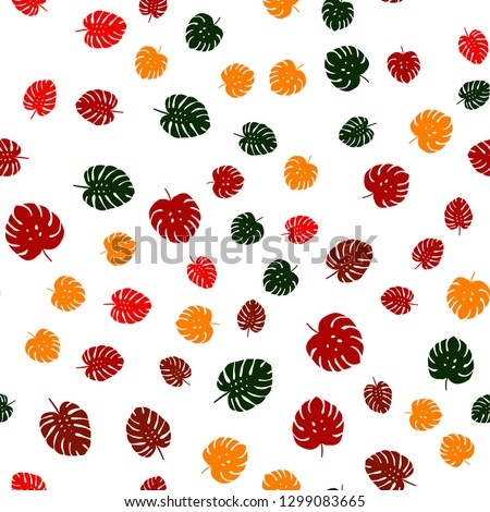 Dark Multicolor vector seamless natural backdrop with leaves. Colorful abstract illustration with leaves in doodle style. Design for textile, fabric, wallpapers. #1299083665