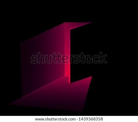 Dark Mysterious Neo-noir room, open door with fading oxy fire red light. Ambient horror and suspense atmosphere. Сток-фото ©