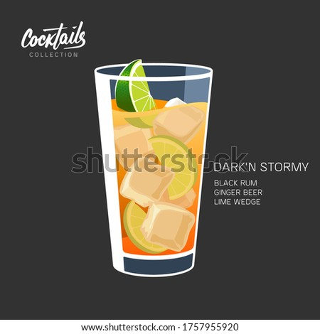 Dark'n Stormy cocktail with dark rum, ginger beer, lime wedge and ice recipe. Drink glass vector illustration. Stok fotoğraf ©