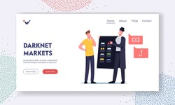 Dark Net,Cyber Market Darknet Service, Virtual Technologies Landing Page Template. User Character Choose Forbidden Content at Criminal Dealer in Black Cloak and Hat. Cartoon People Vector Illustration