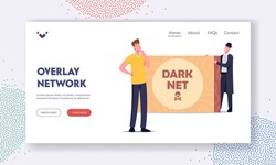 Dark Net Overlay Cyberspace Network Landing Page Template. Criminal in Black Cloak and Hat Offer Forbidden Content to User Male Character, Cyber Darknet Service. Cartoon People Vector Illustration