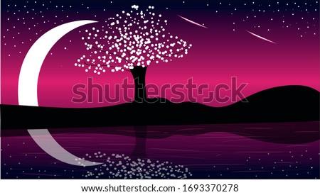 dark  night tree vector