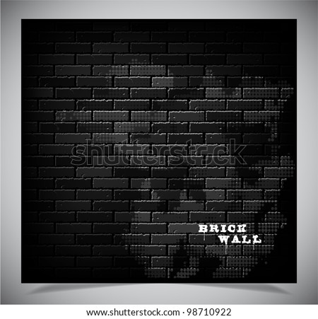 Dark old black brick wall, vector illustration