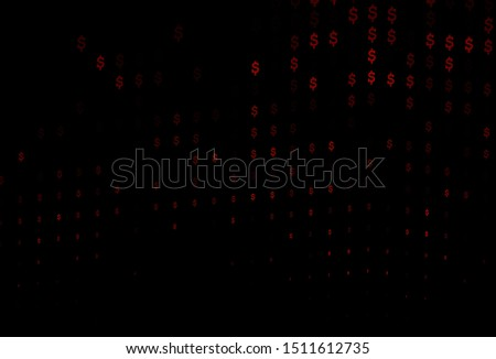 Dark Orange vector background with dollar, USD, usa. Shining colored illustration with dollar, USD, usa signs. Best design for your ad, poster, banner of money.