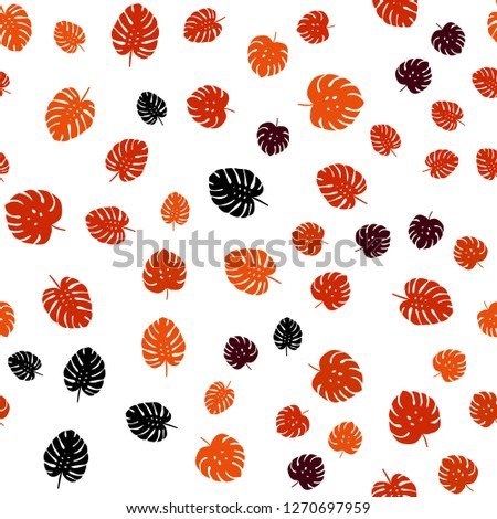 Dark Orange vector seamless natural backdrop with leaves. Creative illustration in blurred style with leaves. Pattern for design of fabric, wallpapers. #1270697959
